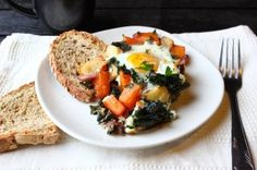 Butternut, Kale & Apple Hash with Baked Eggs | Dairy free, gluten free, paleo, and vegetarian. | Click for healthy recipe. | ViaHappy Hearted Kitchen