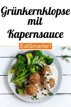Klassiker für Vegetarier: Grünkernklopse mit Kapernsauce und Brokkoli - 664 kcal - einfaches Gericht - So gesund ist das Rezept: 9,4/10 | Eine Rezeptidee von EAT SMARTER | Ballaststoffreiche vegetarische Gerichte, Clean Eating, Eiweißreich, Eiweißreiche vegetarische Gerichte, Gesunde Ernährung, Gesunde-Rezepte, Vegetarisches Mittagessen, Vegetarisches Abendessen, Vegetarische Hauptgerichte, Klassiker, Königsberger Klopse, Mahlzeit, Mittagessen, Abendessen #vegetarisch #gesunderezepte Can I Eat, Healthy Eating, Clean Eating, Food Shows, Eat Smarter, Healthy Dinner Recipes, Food Porn, Veggies, Veggie Food