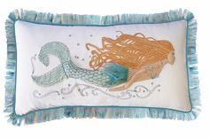 Pearl of the Sea Mermaid Embroidered Pillow