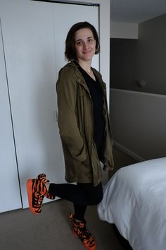 10th October 2015. J Crew Leggings, Old Navy Black Tee, Eileen Fisher Army Jacket, Jeremy Scott for Adidas Tiger Sneakers.
