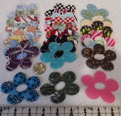"100 Different 2.5 x 3"" Flowers Quilt Quilting Fabric Appliques Patchwork Cotton"