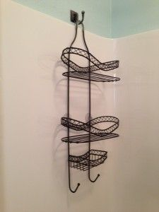 Shower Storage Solution...hook in wall at opposite end of shower...no pressure on shower head