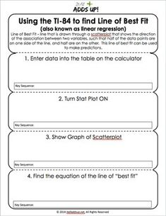 Have students glue this accordian-style foldable into their interactive notebook so they will remember the steps to find the regression line of two sets of data on the graphing calculator. It can also be folded and used as a bookmark in their text. 9th Grade Math, Math Class, Act Tips And Tricks, Act Exam, Line Of Best Fit, I Love Math, Math Boards, Algebra 2, Springboard