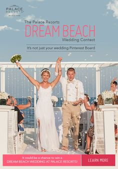 Take your wedding from Pinterest to paradise!  Just follow Palace Resorts Weddings and create a board called #DreamBeachWedding. Be sure to copy your board's URL, click through this pin, and submit on our contest page to be entered. We'll send you weekly inspiration to complete your board. Your magical day is waiting: Dream it, Pin it, Win it!