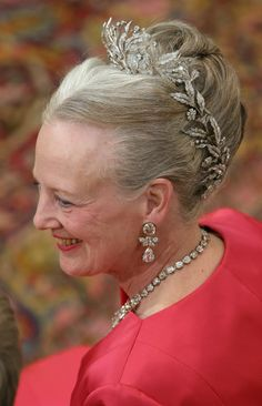 Queen Margarethe wearing the Diamond Floral Aigrette  a three part tiara  I love the way it wraps around the entire head