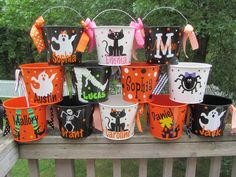 Personalized Halloween trick or treat bucket pail by DottedDesigns, $22.00