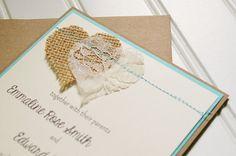 Burlap and Lace Wedding Invitations: Unique by AnnaLouAvenue