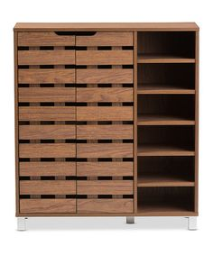 Loving this Walnut Two-Door Shoe Cabinet on #zulily! #zulilyfinds