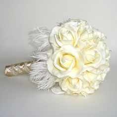 white / ivory & gold rose bouquet with feathers & pearls