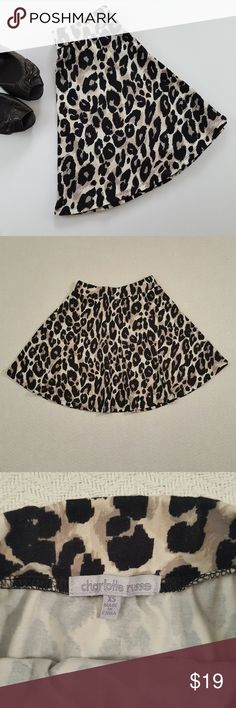 Size XS Charlotte Russe Leopard Print Circle Skirt This listing is for a Charlotte Russe leopard print circle skirt. It's a circle style skirt with an elastic waist. The cream color in the skirt is a little lighter than pictures show, more of an off white. This skirt is preloved but is in near perfect condtion. The perfect addition to any summer wardrobe!   Condition is 9/10. Charlotte Russe Skirts Circle & Skater
