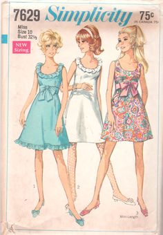 1960s Simplicity 7629 Misses Evening A Line Dress vintage sewing pattern by mbchills,