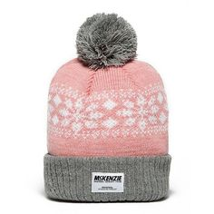McKenzie Arland Beanie Hat (24 CAD) ❤ liked on Polyvore featuring accessories, hats, pink pom beanie, pink beanie hat, acrylic hat, grey beanie hat and beanie hats