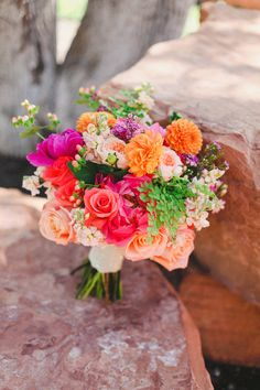 Hot pink and orange #bouquet