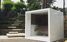 Modern Saunas, Sauna Steam Room, Sauna Design, Outdoor Sauna, Outdoor Spaces, Outdoor Decor, Outdoor Furniture, Prefab, Tiny House