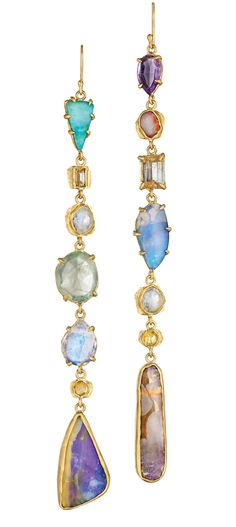 Opal, moonstone, amethyst, prehnite, and diamond earrings in 22k gold; $13,200; Margery Hirschey, Boulder, Colo.; 303-818-6357; margeryhirschey.com
