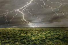 Nature's Whip! - Field Lightning Photography Print 11x14 by WildWildernessPhotos