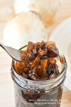 Try this tasty sweet onion relish recipe - or if you want call it onion jam recipe it has sweet balsamic onions caramelized to perfection. Sweet Onion Relish Recipe, Relish Recipes, Onion Recipes, Jam Recipes, Canning Recipes, Jelly Recipes, Sauce Recipes, Chutneys, Dressings