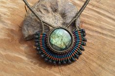 handmade macrame gemstone necklace with by ARTEAMANOetsy on Etsy