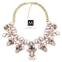 The 'Elsa' Pastel Pink White Statement Necklace Handcrafted Handmade Gemstone Bib Jewellery / Jewelry For Women