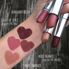 Swatches of my Maybelline Creamy Matte Lipsticks. The formula of these is just as good as high-end matte lipsticks! Photo taken by @jillianbeauty on Instagram.