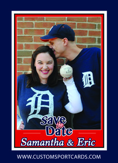 Sports trading card Save the Date,Colors and content customized. www.customsportscards.com