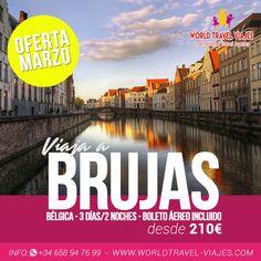 No te puedes perder esta oferta que trae #WorldTravelViajes en Marzo ¡Brujas desde 210€! Contáctanos y date una escapada.