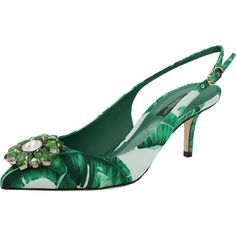 Dolce & Gabbana  Jeweled Leaf Print Slingback (14.070 ARS) ❤ liked on Polyvore featuring shoes, sandals, pointy shoes, pointed shoes, jeweled sandals, leather slingback shoes and leather slingback sandals