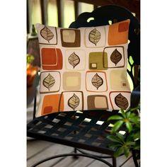 Thumbprintz Deco Leaves Indoor/Outdoor Pillow, Green