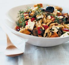 NYT Cooking: Manouri, Eggplant and Orzo Salad