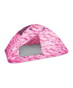 Little adventurers can equip their expeditions in style with this pink camo HQ tent. Featuring army insignia and the American flag, this command post essential will have little ones' imaginations working overtime. 77'' W x 35'' H x 38'' DFits twin-size mattressPolyester taffeta / steel wire / polyurethaneRecommended for ages 3 years and upImported