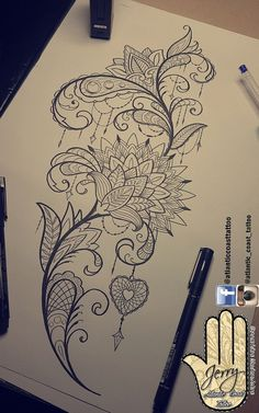 Beautiful tattoo idea design for a thigh mandala lotus flower lace pretty patterns and detail. Heart tattoo ornaments Beautiful tattoo idea design for a thigh mandala lotus flower lace pretty patterns and detail. Leg Tattoos, Body Art Tattoos, Sleeve Tattoos, Tattoo Thigh, Mandala Thigh Tattoo, Female Tattoos, Tatoos, Mandala Tattoo Design, Flower Tattoo Designs