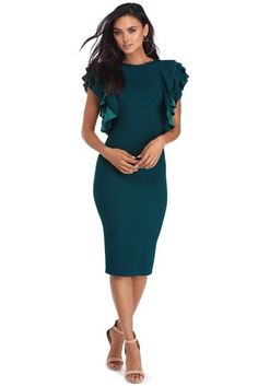 Shelby Teal Ruffled Midi Dress | WindsorCloud