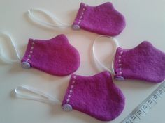 Felt Tiny Mittens Tree Decoration Christmas by blueberryfudge