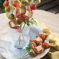 Italian Skewers, these are amazing and so easy, for the back yard party or for a dinner party indoors, they rock and are a great starter to a dinner party too!