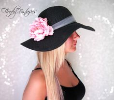 Pretty in Pink - Black Floppy Hat with flower - Kentucky Derby Garden Party or Weddings wide brim straw hat beach on Etsy, $37.18 AUD