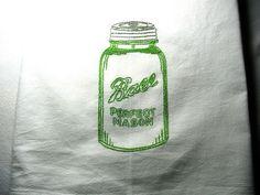 GREEN BALL MASON JAR-New hand embroidered 30 X 30 flour sack dish towel