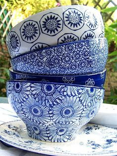 I'm drawn to blue and white dishes - it's because of all the years I ate off of Blue Willow dishes from the A.: