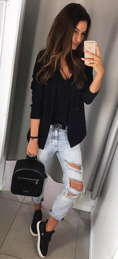 #fall #outfits women's black long-sleeve blazer with gray distressed denim jeans outfit