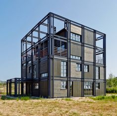 Alexey Rozenberg&Peter Kostelov by Russia Sea Container Homes, Container House Design, Shipping Container Homes, Container Buildings, Container Architecture, Facade Architecture, Steel Frame House, Steel House, Steel Building Homes