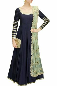 01808c0606f0 Navy blue embroidered anarkali suit available only at Pernia's Pop-Up  Shop.--maybe a streight long kurti :)