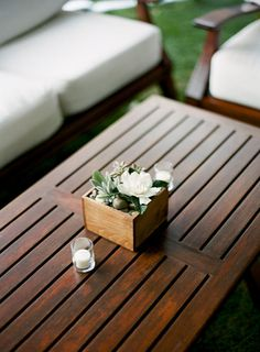 teak lawn furniture for lounging | via @Style Me Pretty