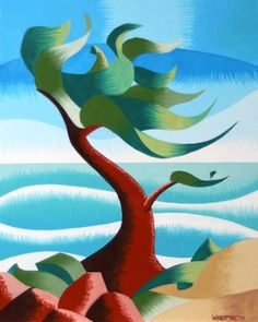 Daily Painters Abstract Gallery: Mark Webster - Abstract Rough Futurism Cypress Tree #2 Coastal Landscape Oil Painting