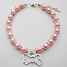 """PetFavorites(TM) Couture Designer Fancy Engraved Crystal Bone Pet Cat Dog Necklace Collar Jewelry with Bling Pearls Rhinestones Charm Pendant for Pets Cats Small Dogs Female Puppy Chihuahua Yorkie Girl Costume Outfits, Adjustable and Handmade (Pink, Neck Size: 8""""-10"""") - http://www.thepuppy.org/petfavoritestm-couture-designer-fancy-engraved-crystal-bone-pet-cat-dog-necklace-collar-jewelry-with-bling-pearls-rhinestones-charm-pendant-for-pets-cats-small-dogs-female-puppy-chihuah"""