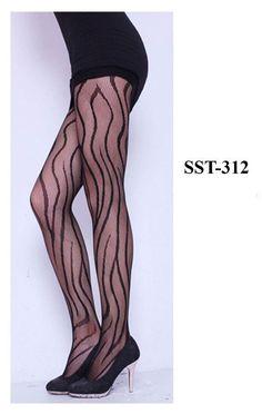 Wavy Line Pattern Lace Stockings