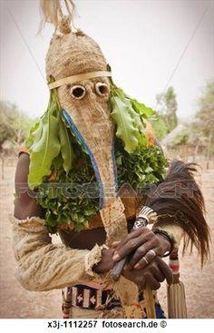Bassari, feier, mit, tänzer, auf, traditionelle, kleidung, Ethiolo, dorf, Bassari, land, senegal, afrikas