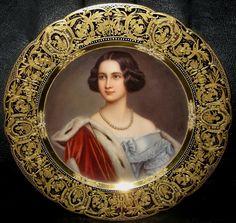 "Wagner , Royal Vienna Porcelain (Austria) — Portrait Plate 'Marie Konigin v. Bayern'. D:9 1/2"" (1010×956)"