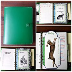 Filofax Original A5 in Standard Green. Navy and Green color scheme with rabbits.
