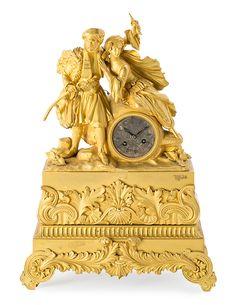 Reloj de sobremesa francés Luis Felipe en bronce dorado, de mediados del siglo XIX