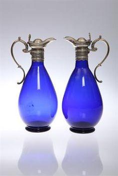 Pair of Cobalt blue glass decanters