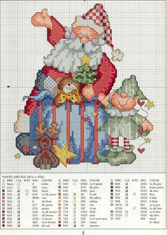 Cross-stitch Christmas Elf & Santa
